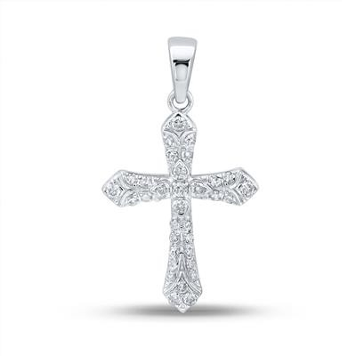 Mens Gold Cross Pendant Natural Round 0.3 Carats Diamond Solid 10Kt White Gold Hip Hop Pendant