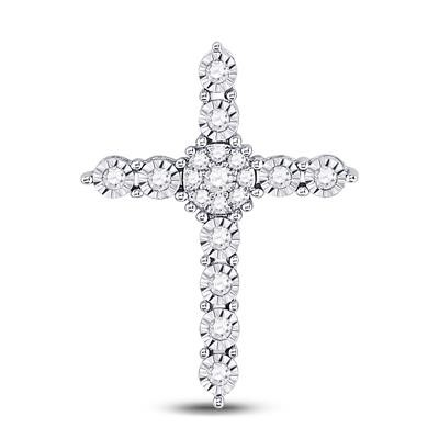 Cross Pendant Natural Round 0.24 Carats Diamond Solid 10Kt White Gold Hip Hop Pendant