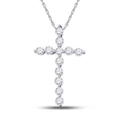Mens Diamond Cross Pendant Natural Round 0.24 Carats Diamond Solid 10Kt White Gold Hip Hop Pendant