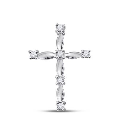 Cross Pendant Natural Round 0.06 Carats Diamond Solid 10Kt White Gold Hip Hop Pendant
