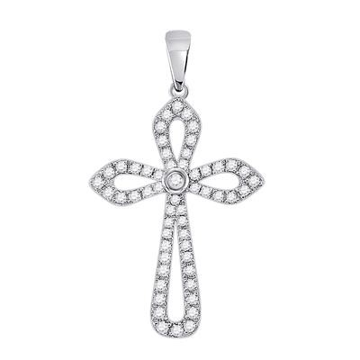 Diamond Cross Pendant Natural Round 0.29 Carats Diamond Solid 10Kt White Gold Hip Hop Pendant