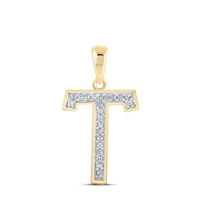 T Gold Initial Pendant Natural Round 0.06 Carats Diamond Solid 10Kt Yellow Gold Hip Hop Pendant