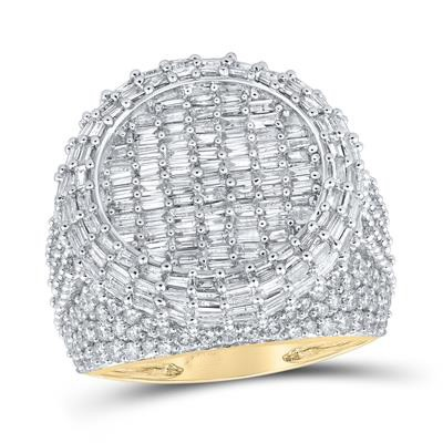 Mens Diamond Ring Natural Round/ Baguette 5.71 Carats Diamond Solid 10Kt Yellow Gold Hip Hop Ring