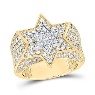 Mens Ring Natural Round 3.44 Carats Diamond Solid 10Kt Yellow Gold Hip Hop Ring