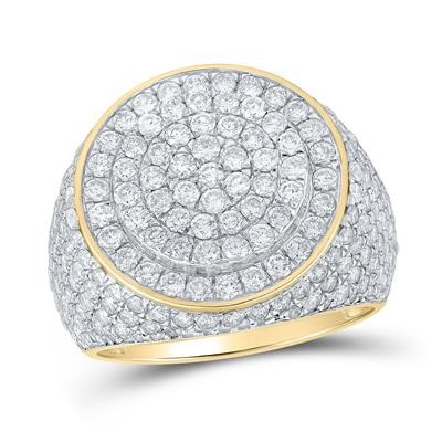 Mens Diamond Ring Natural Round 4.17 Carats Diamond Solid 10Kt Yellow Gold Hip Hop Ring