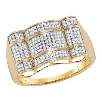 Mens Gold Ring Natural Round 0.34 Carats Diamond Solid 10Kt Yellow Gold Hip Hop Ring