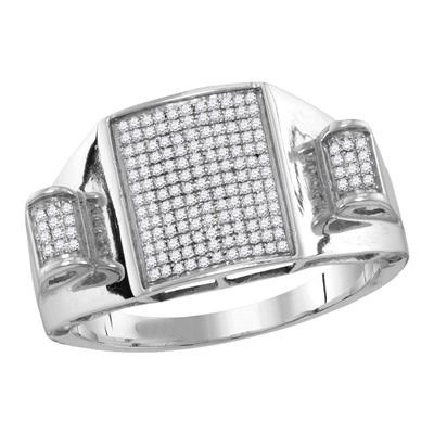 Hip Hop Diamond Ring Natural Round 0.3 Carats Diamond Solid 10Kt White Gold Hip Hop Ring