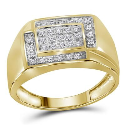 Mens Ring Natural Round 0.25 Carats Diamond Solid 10Kt Yellow Gold Hip Hop Ring