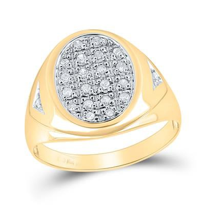 Hip Hop Gold Ring Natural Round 0.25 Carats Diamond Solid 10Kt Yellow Gold Hip Hop Ring