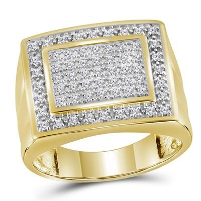 Mens Gold Ring Natural Round 0.5 Carats Diamond Solid 10Kt Yellow Gold Hip Hop Ring