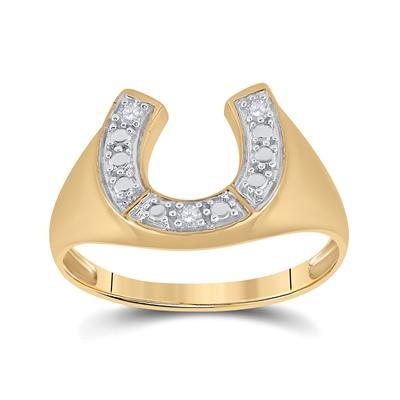 Hip Hop Ring Natural Round 0.05 Carats Diamond Solid 10Kt Yellow Gold Hip Hop Ring