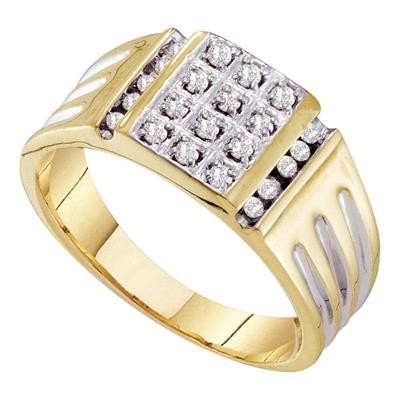 Hip Hop Gold Ring Natural Round 0.26 Carats Diamond Solid 10Kt Yellow Gold Hip Hop Ring
