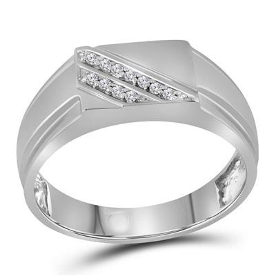 Mens Diamond Band Natural Round 0.08 Carats Diamond Solid 10Kt White Gold Mens Band