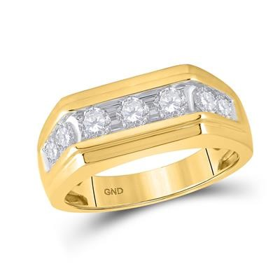 Mens Diamond Band Natural Round 1.01 Carats Diamond Solid 10Kt Yellow Gold Mens Band