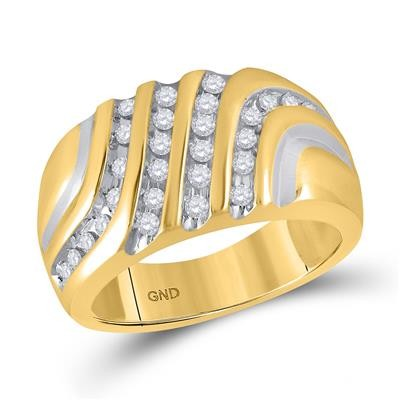 Diamond Band Natural Round 0.5 Carats Diamond Solid 10Kt Yellow Gold Mens Band
