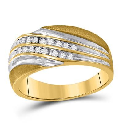 Diamond Band Natural Round 0.25 Carats Diamond Solid 10Kt Yellow Gold Mens Band