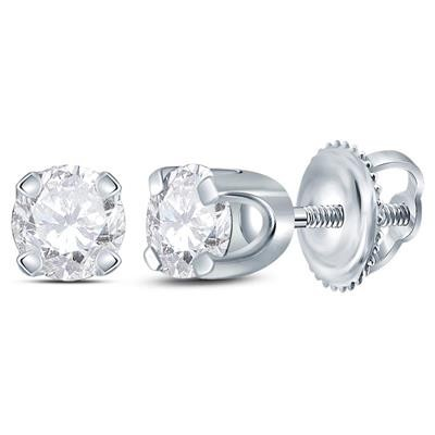 Half Carat Diamond Stud Earrings For Women Round Solid Gold Solitaire Earrings