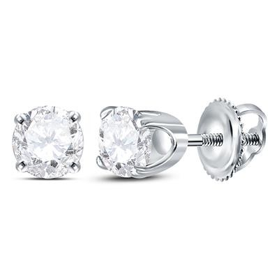 1 Carat Diamond Studs For Women Round Solid Gold Solitaire Earrings