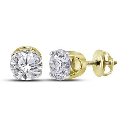 0.66 Carat Diamond Solitaire Earrings Round Solid Gold Solitaire Earrings