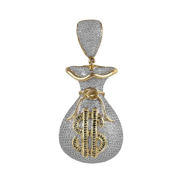 Money Bag Hip Hop Diamond Pendant Natural 4 Carats Diamond Solid 10 Kt White Gold Hip Hop Pendant 62Mm