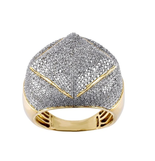 Mens Ring Natural 2 Carats Diamond Solid 10Kt Yellow Gold Hip Hop Ring Us 7 To  12