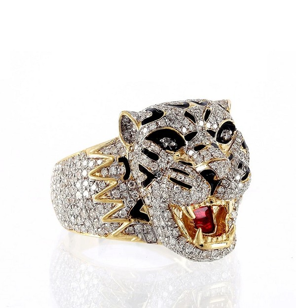 Hip Hop Ring Natural 2.25 Carats Diamond Solid 10Kt Yellow Gold Hip Hop Ring Us 7 To  12