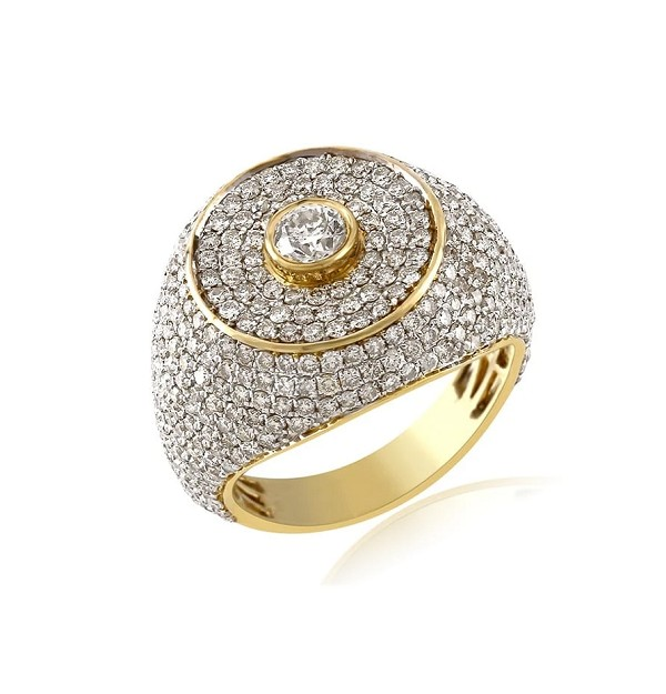 Hip Hop Diamond Ring Natural 4 Carats Diamond Solid 10Kt Yellow Gold Hip Hop Ring Us 7 To  12