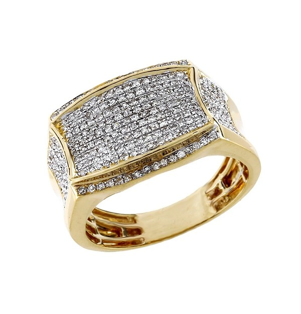 Mens Gold Ring Natural 1 Carats Diamond Solid 10Kt Yellow Gold Hip Hop Ring Us 7 To  12
