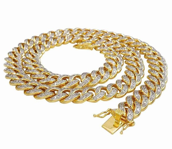 Mens Diamond Chains Solid Gold 8 Carats Natural Diamond 7 Mm Cuban Link Style Mens Chains 20 Inches