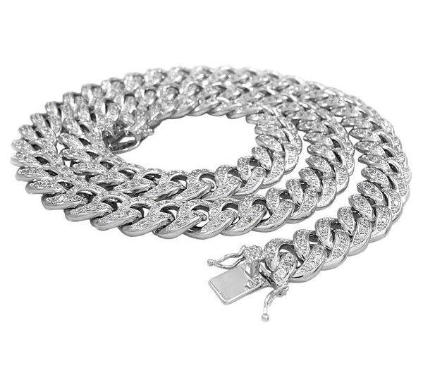Hip Hop Gold Chains Natural 8 Carats Diamond Solid 10Kt White Gold Cuban Link Mens Chains 22 Inches