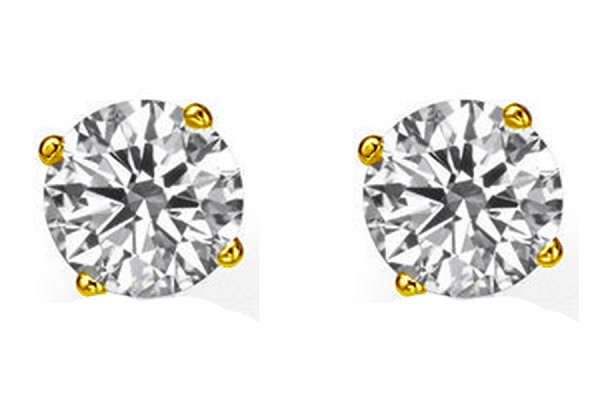 1/4Ct Round Cut Natural HI-VS Diamond Stud Earrings in 18K Yellow & White Gold