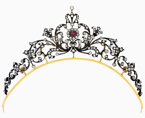 Princess Tiaras And Crowns 5.15 Carat Natural Rose Cut Certified Diamond Ruby Sterling Silver