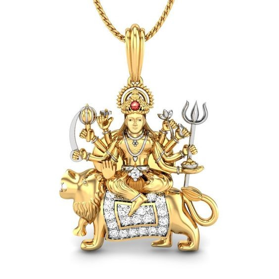 Religious Pendant Mata 0.2 Ct Natural Certified Diamond Solid Yellow Gold Festive