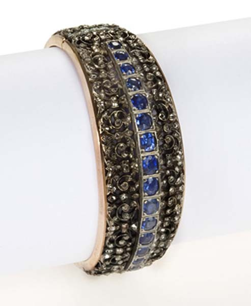 Antique Diamond Bracelet 4.5 Ct Uncut Natural Certified Diamond 7.5 Ct Blue Sapphire 925 Sterling Silver Workwear