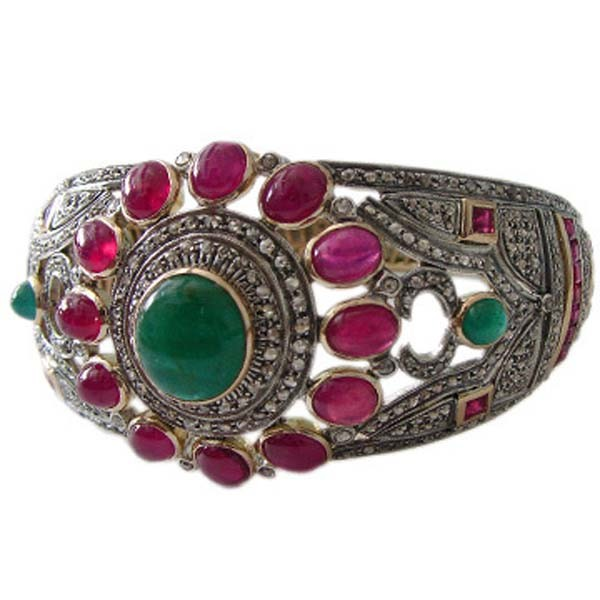 Antique Tennis Bracelet 7.44 Ct Uncut Natural Certified Diamond 8 Ct Ruby Emerald 925 Sterling Silver Office Wear