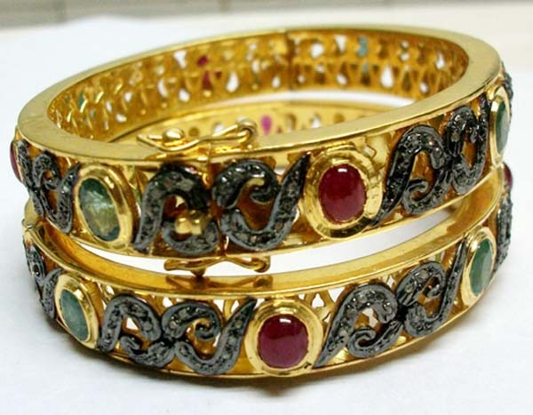 Vintage Bracelets 5.12 Ct Uncut Natural Certified Diamond 6 Ct Ruby Emerald 925 Sterling Silver Workwear