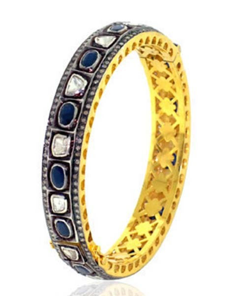 Victorian Bracelet 4.7 Ct Uncut Natural Certified Diamond 3 Ct Blue Sapphire 925 Sterling Silver Vacation