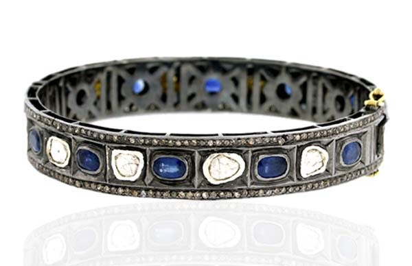 Antique Diamond Bracelet 4.75 Ct Uncut Natural Certified Diamond 3.5 Ct Blue Sapphire 925 Sterling Silver Special Occasion