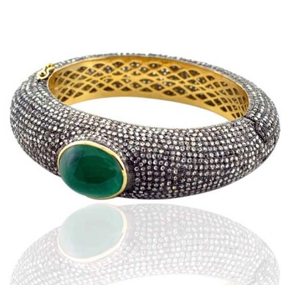 Polki Bracelet 14.8 Ct Uncut Natural Certified Diamond 2.4 Ct Emerald 925 Sterling Silver Engagement