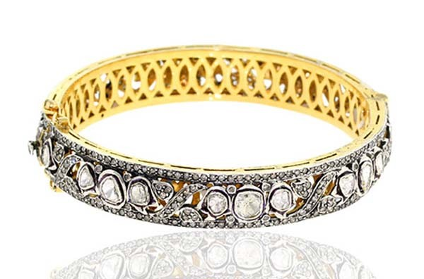 Art Deco Diamond Bracelet 7.15 Ct Uncut Natural Certified Diamond 925 Sterling Silver Engagement