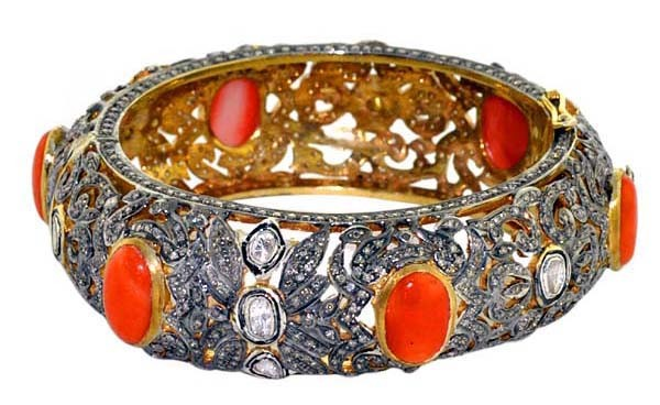 Victorian Bracelet 11 Ct Uncut Natural Certified Diamond 6 Ct Coral 925 Sterling Silver Engagement