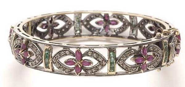 Antique Bracelets 2.8 Ct Uncut Natural Certified Diamond 2 Ct Ruby Emerald 925 Sterling Silver Wedding