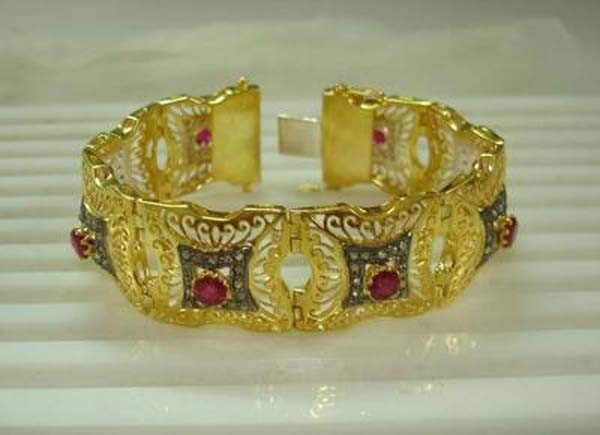 Antique Bracelets 2.16 Ct Uncut Natural Certified Diamond 2.25 Ct Ruby 925 Sterling Silver Special Occasion