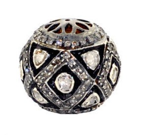 Art Deco Beads 1.45 Ct Uncut Natural Certified Diamond 925 Sterling Silver Anniversary