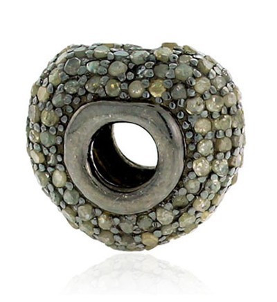 Art Deco Beads 1.05 Ct Uncut Natural Certified Diamond 925 Sterling Silver Everyday