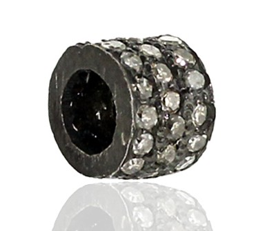 Vintage Style Beads 0.34 Ct Uncut Natural Certified Diamond 925 Sterling Silver Engagement