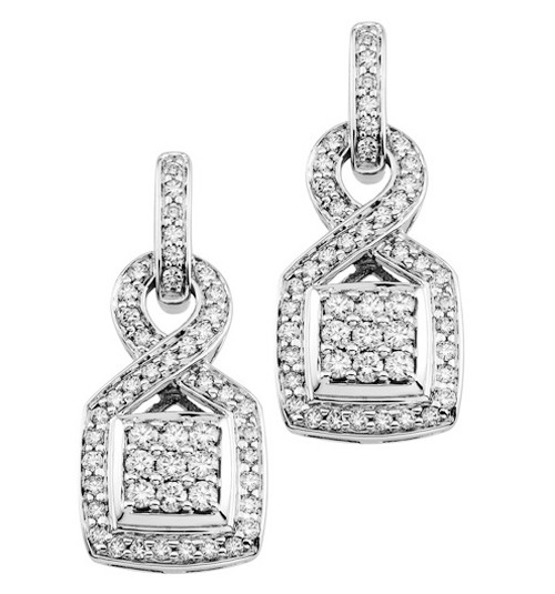 Dangle Earrings 1.75 Ct Diamond  Natural Certified Solid White Gold