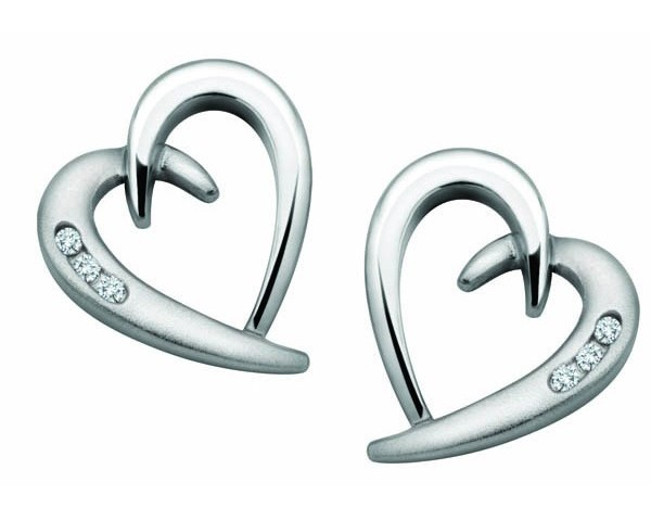 Diamond Studs 0.12 Ct Heart Earrings Natural Certified Solid Gold