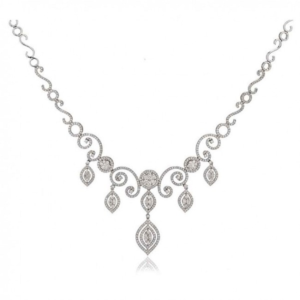 Necklace for Womens 8.25 Ct Natural Certified Diamond Solid Gold Wedding Engagement