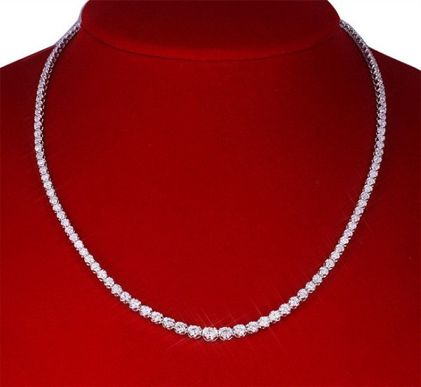 Diamond Tennis Necklace 10.25 Ct  Natural Certified Diamond Solid Gold String